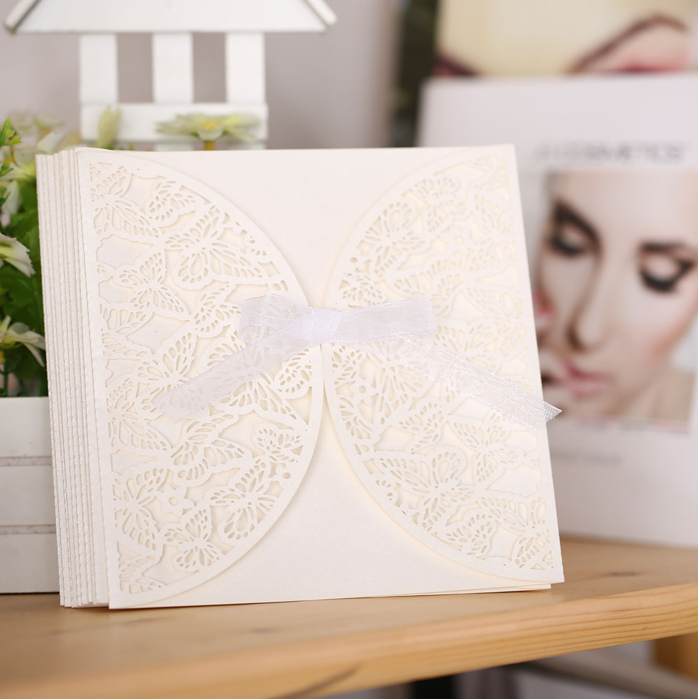 10PCS Romantic Iridescent Paper Wedding Invitation Card Butterfly Pattern Carved Hollow Out Crafts Cards  Party Wedding Banquet 1 design laser cut white elegant pattern west cowboy style vintage wedding invitations card kit blank paper printing invitation