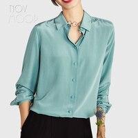Офисный стиль женские Роскошные Зеленый Натуральный шелк топы и блузки button through деловая рубашка roupa camisa женская блузка LT2265