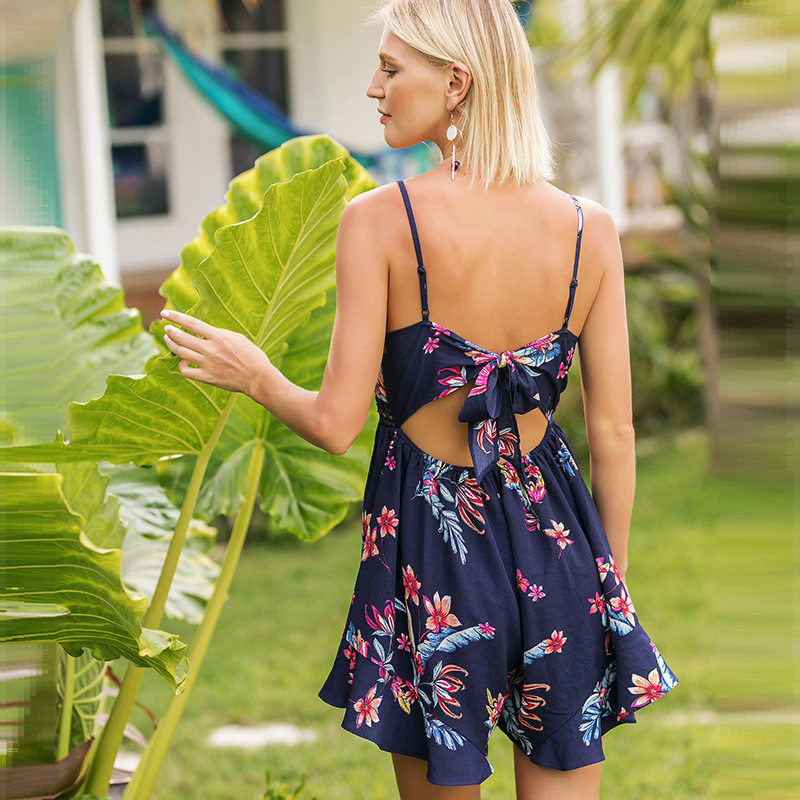 2018 Summer Floral Printed Women Short Jumpsuits Playsuits Deep V-neck Sling Wide Legs Female Bodysuits Sexy Boho Beach Jumpsuit