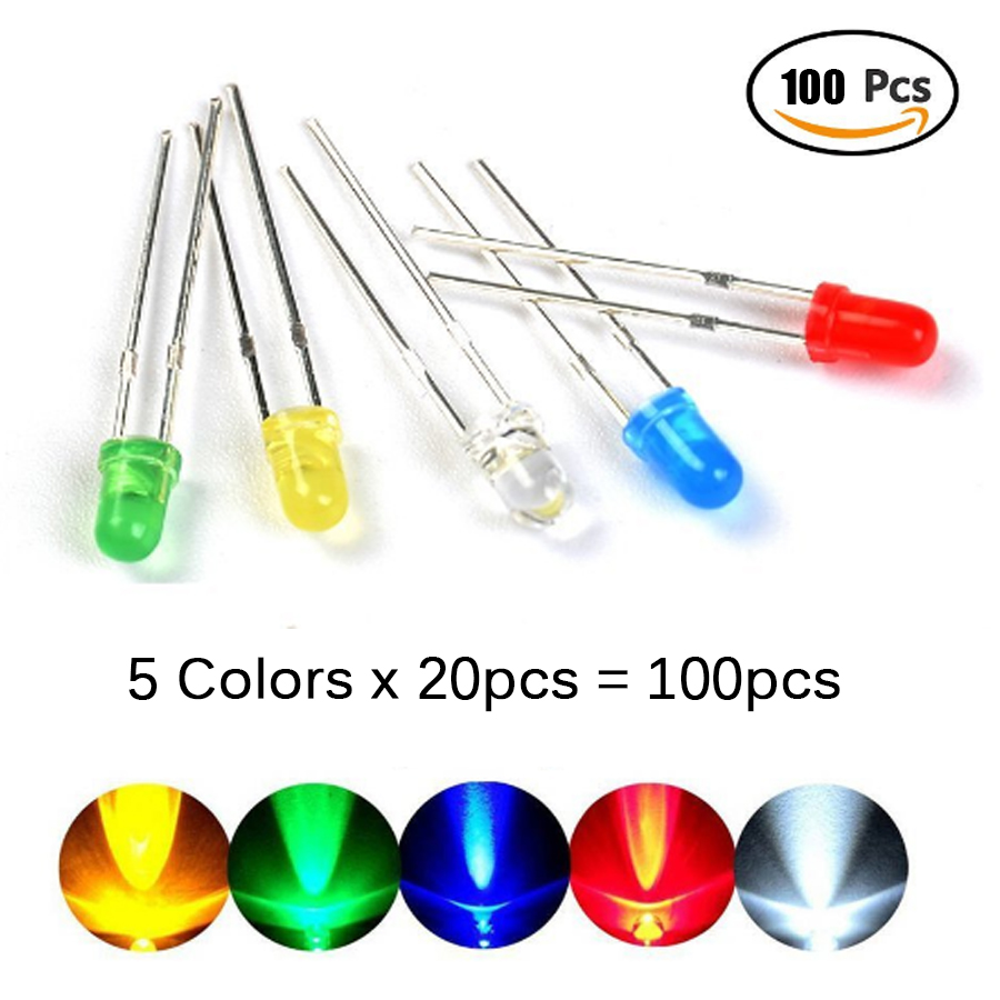 100Pcs/lot 3MM LED Diode Assorted Kit  5colors* 20pcs Mixed Color Red Green Yellow Blue White DIY LED Diode Kit