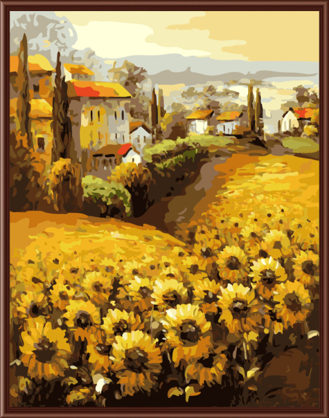 Sunflower Landscape Frameless Picture Painting By Numbers DIY Digital Canvas Oil Painting Home Decor For Living Room G315
