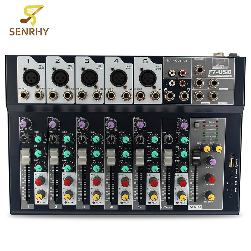 New Arrival 7 Channel Professional Stage Live Studio Audio Mixer USB Mixing Console DJ KTV High Quality