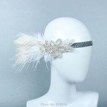 Vintage Crystal Rhinestone Feather Headband Flapper Fancy Dress Costume Party Hair band Headpiece 1920's Gatsby