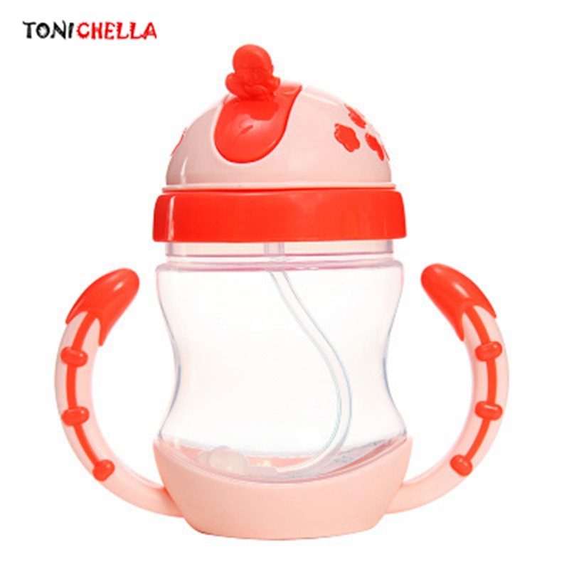 Colorful Baby Children Learn Drinking Flasks With Silicone Straw Bottle Drinking Infants Thermos Cup Portable Travel Mug T0381