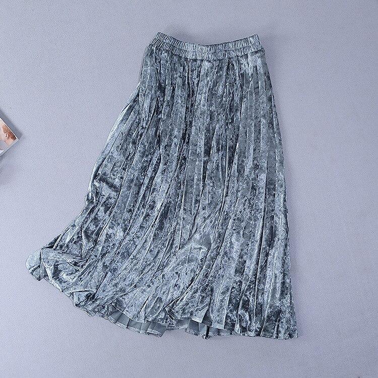 Stile A Colori Gonna Lunghe Europeo Modo Maniche Di Nuovo Americano Velluto Shirtcontrasting Della E Vestito Delle 2019 Pieghe Del Molla Donne PZvPfxq