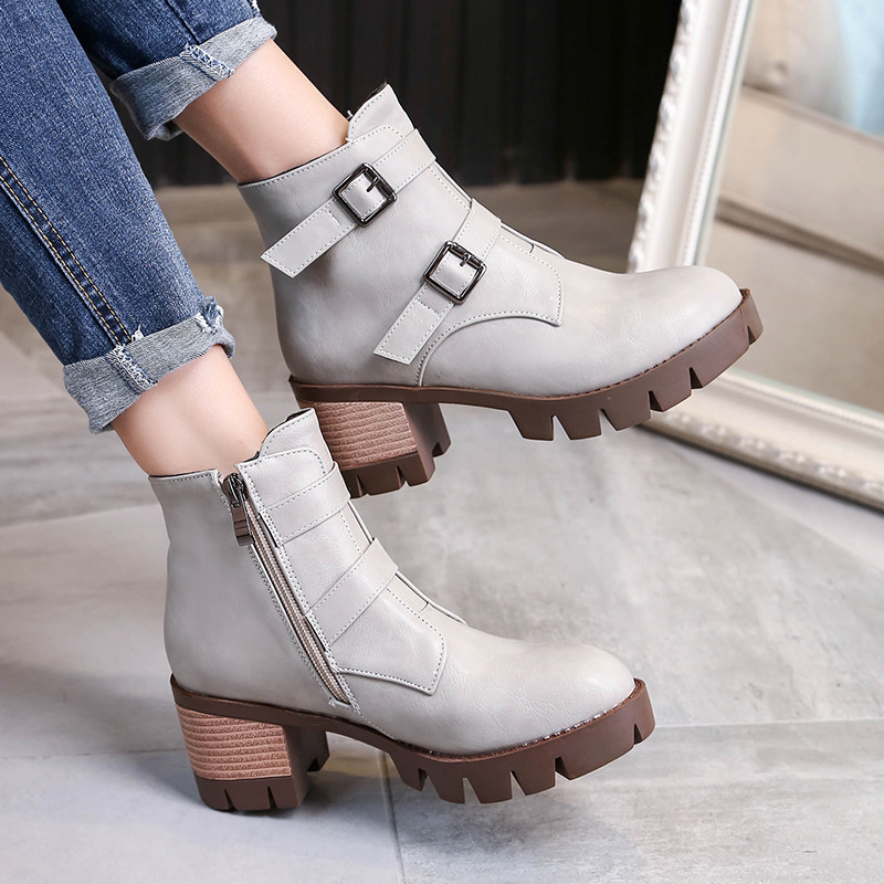 Retro Roman Breathable Shoes Belt Buckle Women s Ankle Booties On Sale Black High Heeled Boots