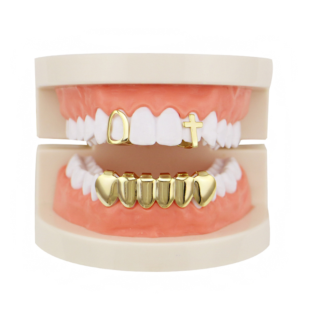 Factory Bottom Price Real Gold Plated Teeth Grillz Set Mixed Design Fake Tooth Grillz Hip-hop Cool Men Body Jewelry US Rap Artist Mouth Cap (1)