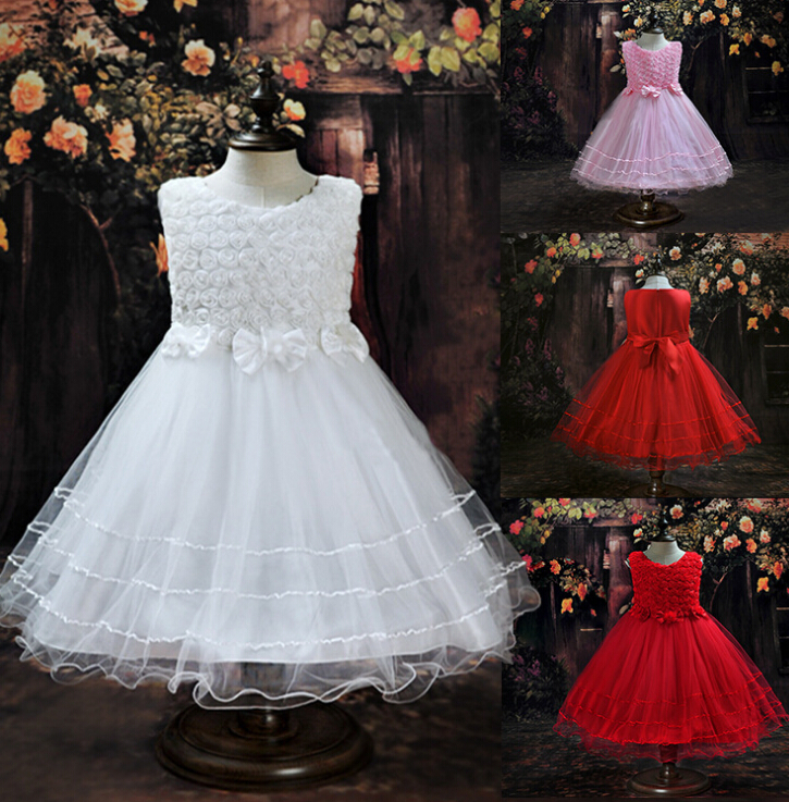 ФОТО 2015 Summer Chiffon Lace Children's Dresses Lovely Ball Bow Performance 2-9 Age Kids Party  Evening Wedding For Princess Dress