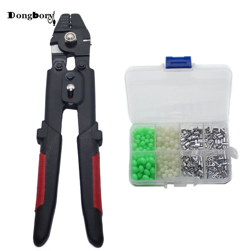 1pcs Fishing Pliers Wire Rope Swager Crimpers With 1 Box of Crimp Sleeves Sets