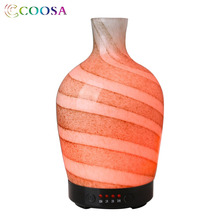 COOSA 3D Glass LED Light Ultrasonic Aroma Essential Oil Diffuser Vase Shape Air Humidifier Cool Mist Maker for Home Office Yoga