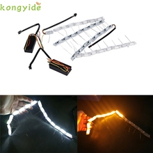 New 2xCar White Amber Switchback LED Knight Rider Light Strip DRL Turn Signal car accessories