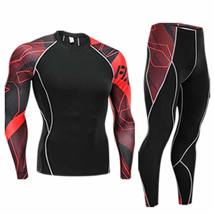 Мужская одежда компрессионная мужская футболка + леггинсы Рашгард комплект с длинными рукавами топ для фитнеса мужской спортивный костюм термобелье база