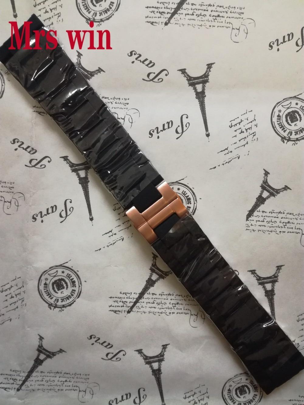Mrs win Uhrenarmbänder Gummi silikon wrap Rose gold Edelstahl Armband armband für Uhren Zubehör Heißer Verkauf-in Uhrenbänder aus Uhren bei  Gruppe 1