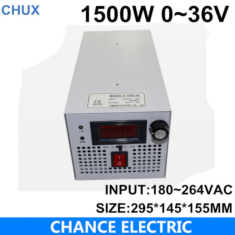 S-1500-36 CE approved SMPS Led adjustable switching power supply 0-36V 41.6A 1500W 110/220V ac to dc 36v