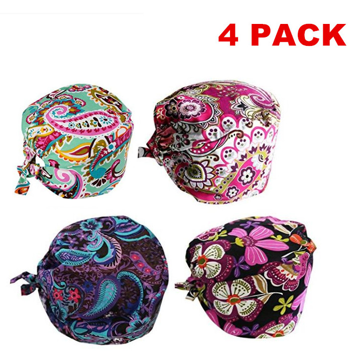 Promotion 4pcs Pack Doctor Scrub Caps Women's Surgical Hats With Sweatband Inner For Women Clinic Workwear Cap Long Hair Cotton