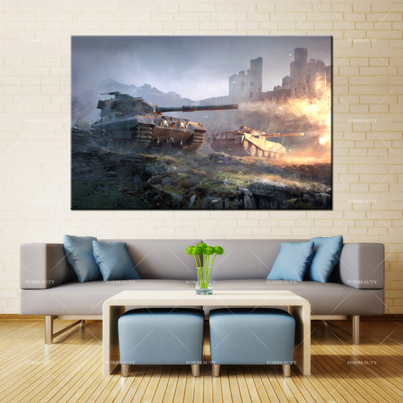 Forbeauty Canvas Painting Wall Art british_tank_destroyers_world_of_tanks Spray Printing Waterproof Ink Home Decor image