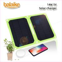 Balaike solar battery charger 14W 5V Solar Panel Green Folding Charger Mobile Power contain 2 pcs panel solar for mobile phone