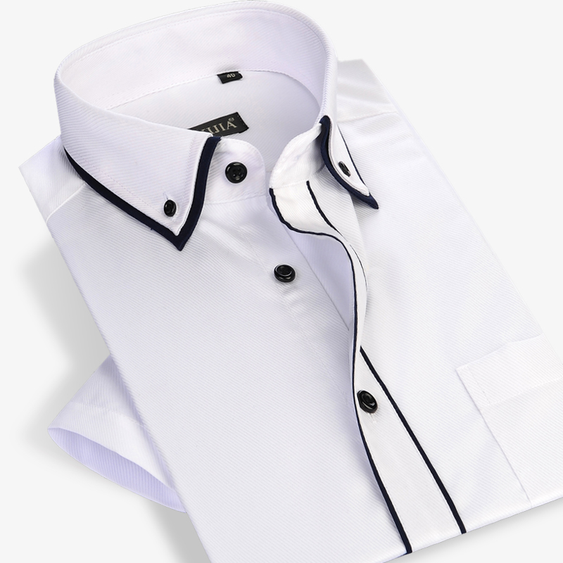 Summer 2017 Men Short Sleeve Double Layer Collar with Black Piping Dress Shirt White Lightwight Slim-fit Twill Casual Shirts