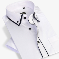 Summer 2017 Men Short Sleeve Double Layer Collar With Black Piping Dress Shirt White Lightwight Slim