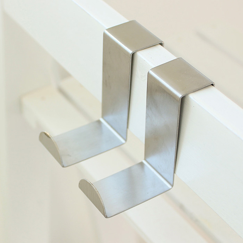 Both Sides Hooks Silver Over Door Hanger Space Saving 2 PCS Stainless Kitchen Drawer Hanging Towel Clothes Pothook