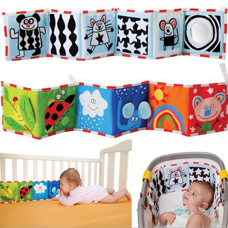 Baby Toys Newborn Bed Sticker Bumper Black And White Color Animal Story  Cloth Books Montessori  Kids Baby Rattle Toys