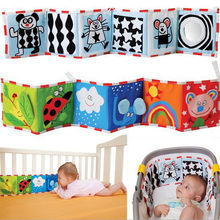 Baby Toys Newborn Bed Sticker Bumper black and White color Animal Story Cloth Books Montessori Kids baby Rattle Toys(China)