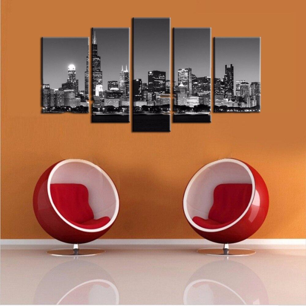 Blanco y Negro pinturas Chicago ciudad vista nocturna pinturas ...