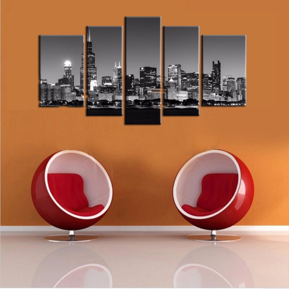 noche de la ciudad de chicago pinturas lienzos en blanco y negro moderno de pared imagen