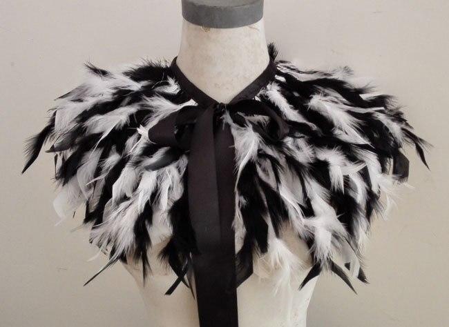 classic 2 tone soft hand torn turkey feather cape FC15026