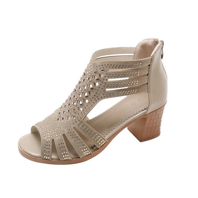 נשים אופנה גביש חלול החוצה פיפ טריזי הבוהן סנדלי עקבים גבוהים נעלי zapatos mujer tacon chaussures femme ete 2018 חדש #7