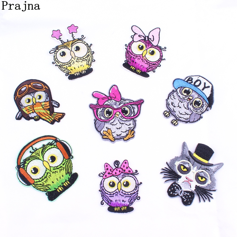 Prajna Baby Owl Embroidered Iron-On Patch Stalker Badges Cute Cartoon Patches For Clothes Stickers Applique Stripe On