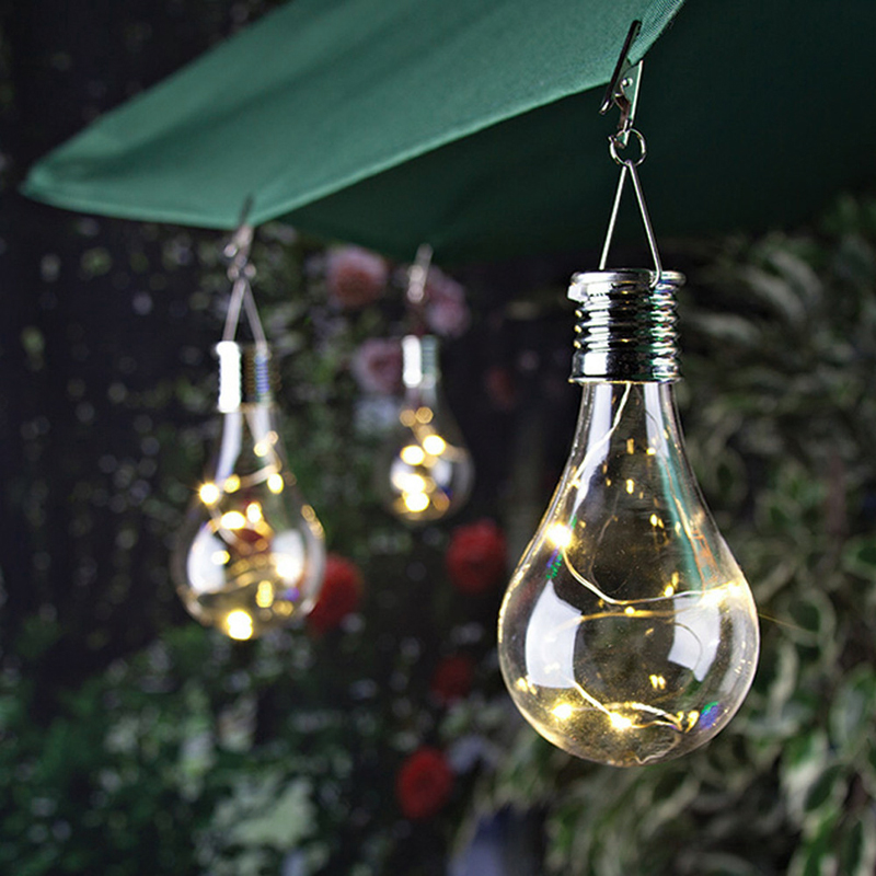 4 Pcs Outdoor LED Solar Light Bulb Light Sensor Rotatable Solar Powered Lamp Hanging Garden Decorate Camping Tent Lanterns Lamp