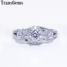 Transgems Halo Engagement Ring for Women 14K White Gold 3 Stone Ring F Color Center 5mm and 2Pcs 3mm Moissanite Diamond цена в Москве и Питере