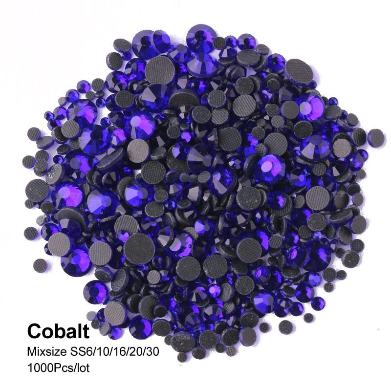 Shinny Color Cobalt 1200Pcs/lot  Hotfix Rhinestone  Mix Size SS6-SS30 Crystal Flatback Stones  For Adornment DIY Free Shipping