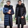 Homens Gola de Pele Casaco De Inverno Mais Grosso Outwear Quente Casaco de Pato para baixo Casaco Para Homens Tamanhos Grandes Pato Branco Para Baixo Acolchoado 2016