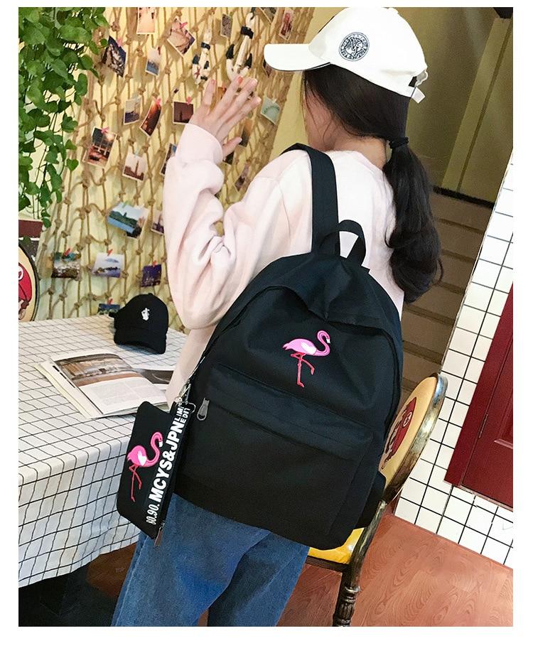HTB1fFGKKrSYBuNjSspfq6AZCpXa7 Backpacks Brand Women Simple Flamingo Printing Backpack For Teenage Girls Laptop School Bags Mochila 2019
