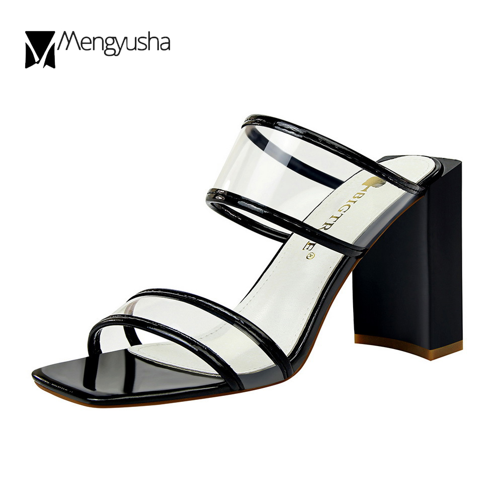 1a3e221fea9ae white sandals color c583 mixed black toe clear transparent women slippers  mules heels sandals gladiator chunky ...