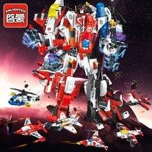 ENLIGHTEN Mecha Robot Transform Helicopter Aircraft Model Building Blocks Sets LegoINGs Bricks Toys For Children Christmas Gifts цены