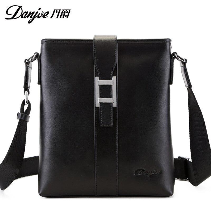 все цены на DANJUE New Arrival Genuine Leather High Quality Men Daily Bag Men Messenger Bags Original Double Zipper Crossbody Bags For Men онлайн