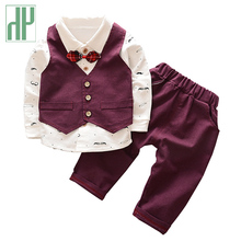 Toddler Boys clothing formal wear 3 pieces kids clothes suits Vest+shirt+pants handsome gentleman suit children
