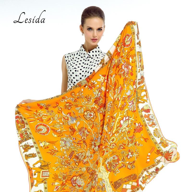 LESIDA Pañuelo de Seda Pura Mujeres Grandes Chales Estoles Árbol - Accesorios para la ropa - foto 6