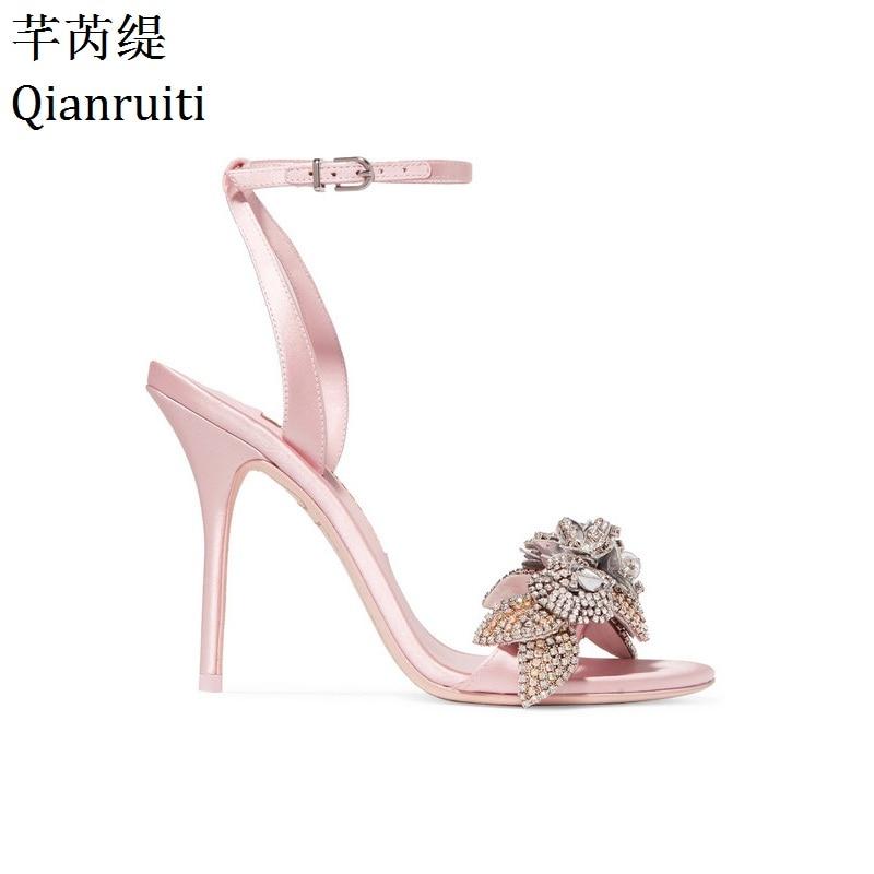 Qianruiti Pink Silk Ankle Strap Stiletto Heels Women Sandals Summer Peep Toe High Heels Wedding Shoes Bling Crystal Women Pumps