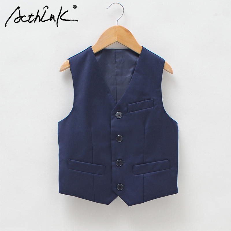 ActhInK Nuevo 2018 School Boys Vest Brand Inglaterra estilo Gentle Boys Wedding Chaleco Kids Party y Performance Vest for Boys, C256