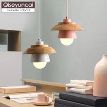 Qiseyuncai Nordic style color three-headed restaurant chandelier log simple single head bar dining room lighting free shipping