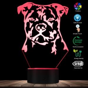 Image 2 - Moderne Staffordshire Bull Terrier LED Nachtlicht Tier Haustier Hund Welpen 3D Optische illusion Lampe Wohnkultur Tisch Lampe Schreibtisch licht