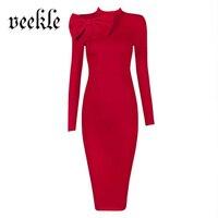 VEEKLE Kadınlar Sonbahar Kış Vintage Katı Kırmızı Siyah Noel Elbise Uzun Kollu Ofis İş Kalem Akşam Parti Çalışmak Giyin