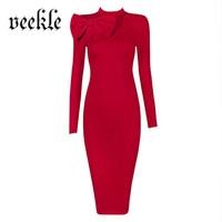 VEEKLE Kobiety Jesień Zima W Stylu Vintage Solid Black Red Dress Urząd Długim rękawem Ubrać Do Pracy Firm Ołówek Wieczorne Party