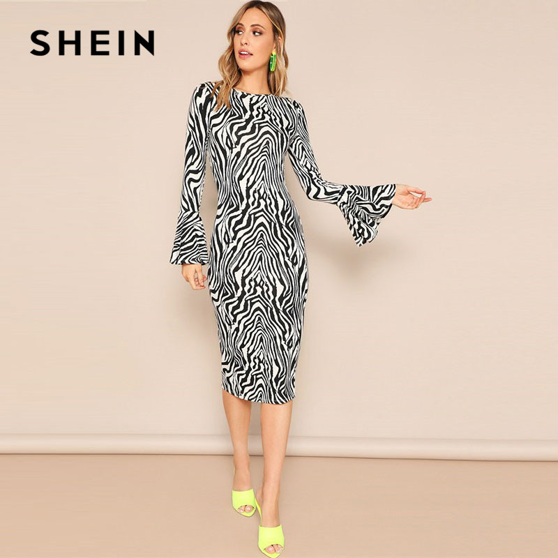 23f648644737 SHEIN Elegant Flounce Sleeve Zebra Print Pencil Midi Dress Women ...