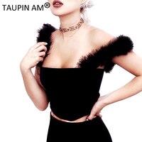 Autumn Luxury Fur Women Tops Sexy Off Shoulder Sleeveless T Shirt Tops Tees Black Bodycon Slim