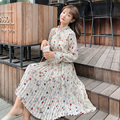 Blue,White,Red Flower Print Temperament Pleated Dress Korean Fashion Women Ruffled Long Sleeved Floral Printed Chiffon Dresses